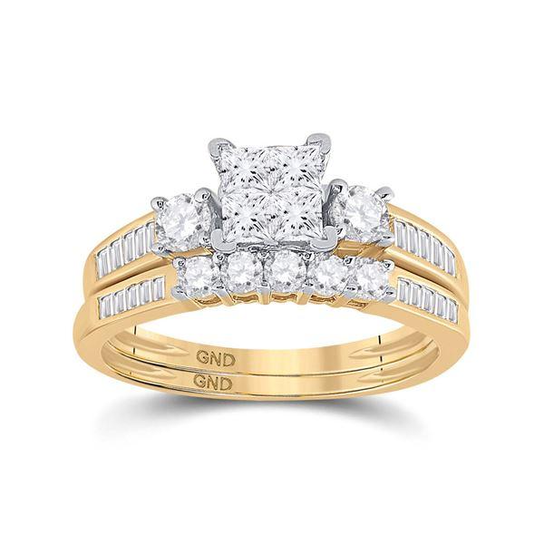 Princess Diamond Bridal Wedding Ring Band Set 1 Cttw 14kt Yellow Gold