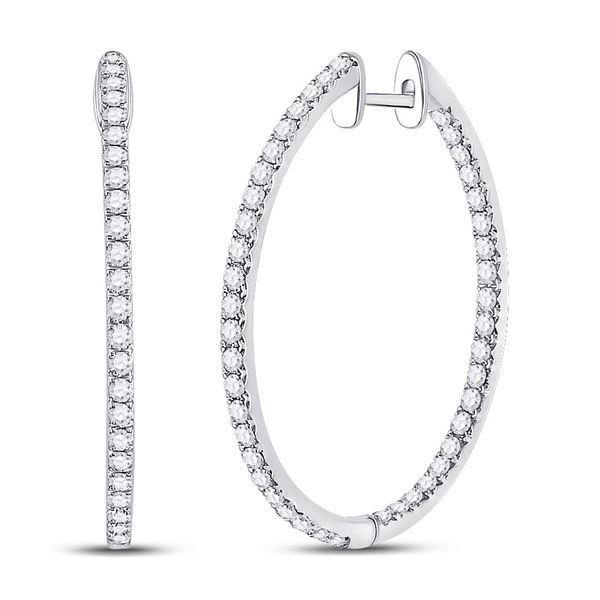 Diamond Slender Single Row Hoop Earrings 1-1/2 Cttw 14kt White Gold