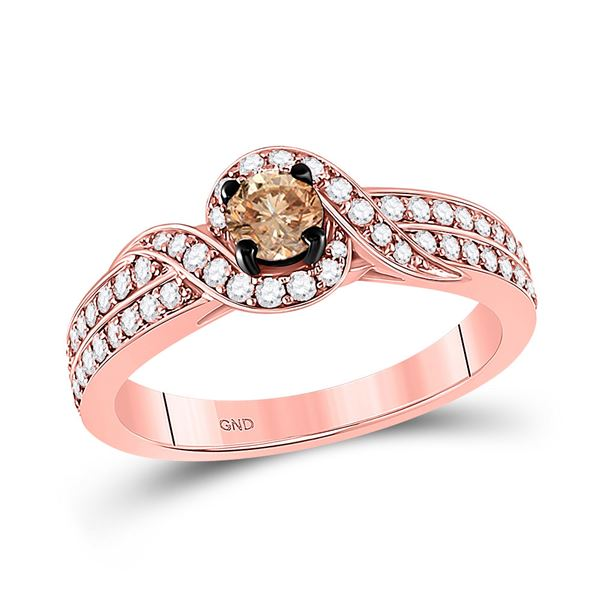 Brown Diamond Solitaire Ring 3/4 Cttw 14kt Rose Gold