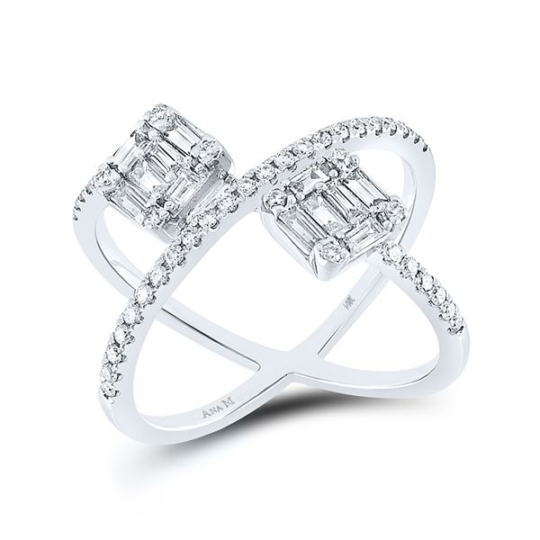 Baguette Diamond Negative Space Fashion Ring 3/4 Cttw 14kt White Gold