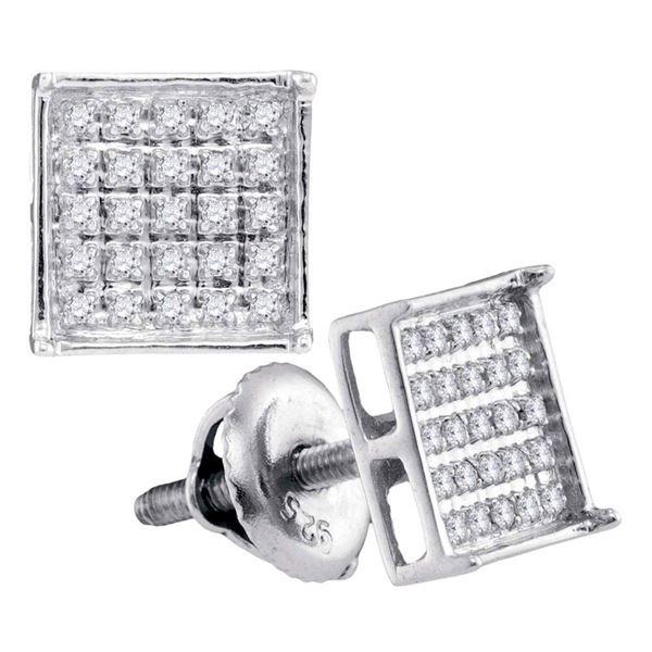 Diamond Square Cluster Earrings 1/6 Cttw 14kt White Gold