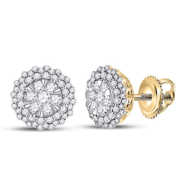 Diamond Halo Cluster Earrings 1 Cttw 14kt Yellow Gold