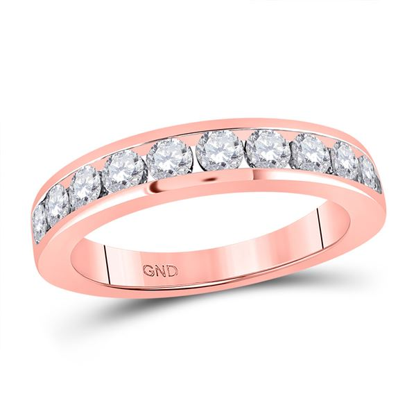 Diamond Wedding Single Row Band 1 Cttw 14kt Rose Gold