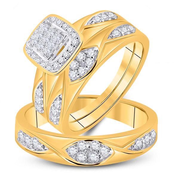 His Hers Princess Diamond Square Matching Wedding Set 5/8 Cttw 10kt Yellow Gold
