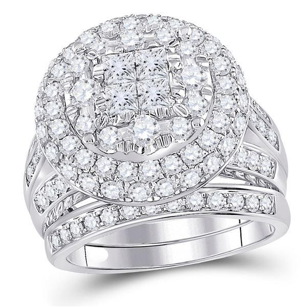 Princess Diamond Bridal Wedding Ring Band Set 3 Cttw 14kt White Gold