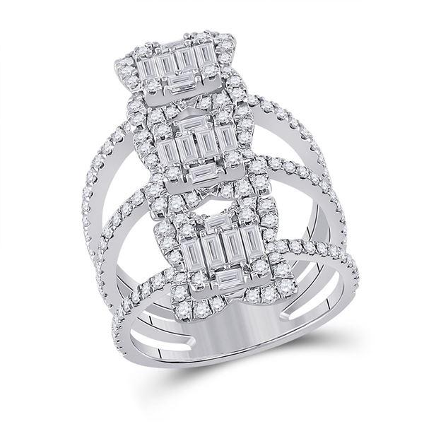 Baguette Diamond Spiral Fashion Ring 1-7/8 Cttw 14kt White Gold