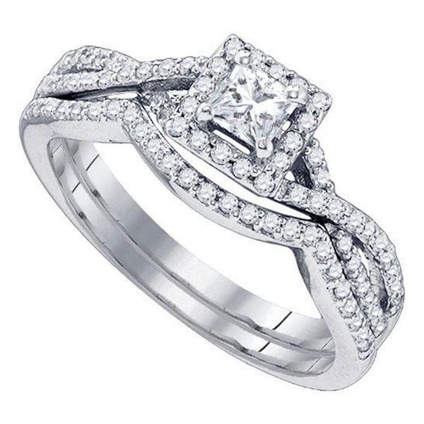 Princess Diamond Twist Bridal Wedding Ring Band Set 5/8 Cttw 14kt White Gold