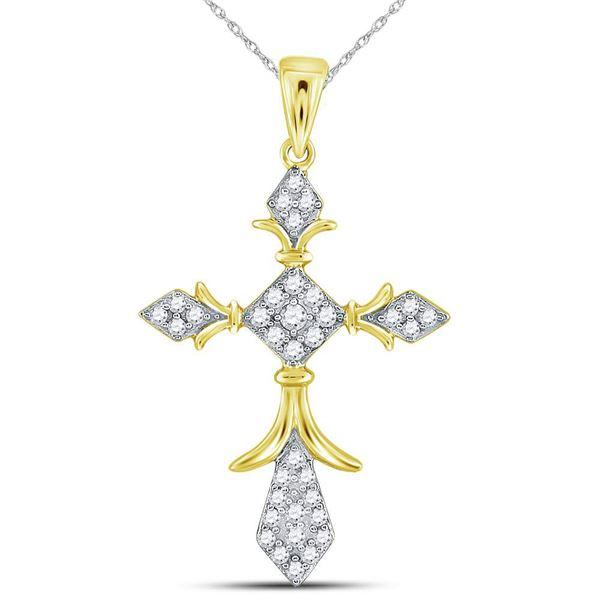 Diamond Fleur Cross Pendant 1/4 Cttw 14kt Yellow Gold