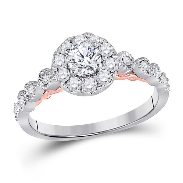 Diamond Solitaire Bridal Wedding Engagement Ring 3/4 Cttw 14kt Two-tone Gold