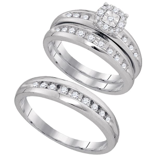 His Hers Diamond Cluster Matching Wedding Set 1/2 Cttw 10kt White Gold