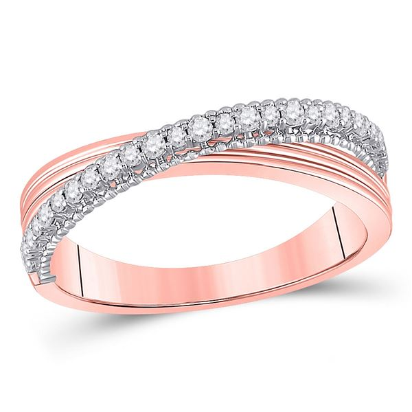 Diamond Crossover Fashion Ring 1/5 Cttw 14kt Two-tone Gold