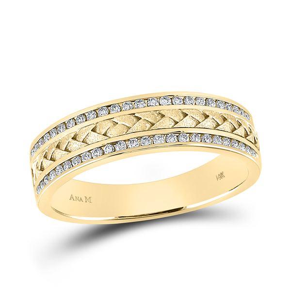 Mens Diamond Wedding Braided Inlay Band Ring 1/3 Cttw 14kt Yellow Gold