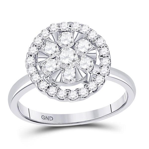 Diamond Halo Flower Cluster Ring 1 Cttw 14kt White Gold
