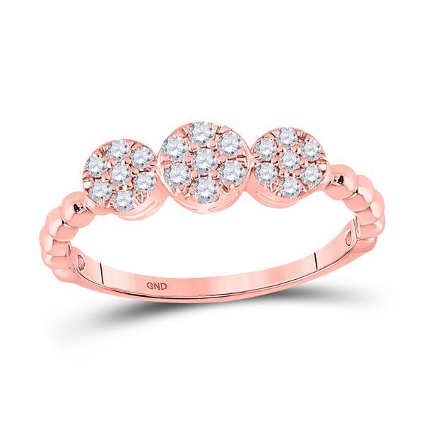 Diamond Triple Flower Cluster Ring 1/3 Cttw 10kt Rose Gold