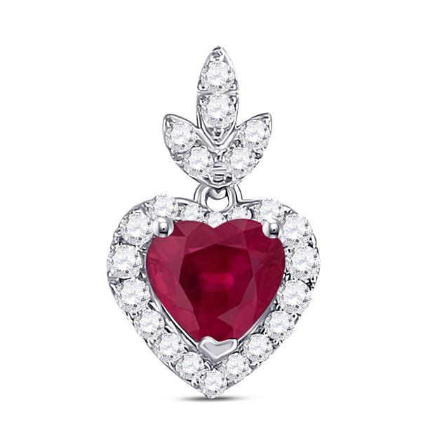 Heart Ruby Diamond Fashion Pendant 3/4 Cttw 10kt White Gold