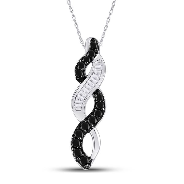 Black Color Enhanced Diamond Woven Infinity Pendant 1/3 Cttw 14kt White Gold