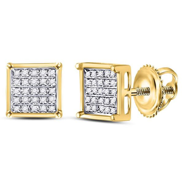 Diamond Square Cluster Earrings 1/6 Cttw 14kt Yellow Gold