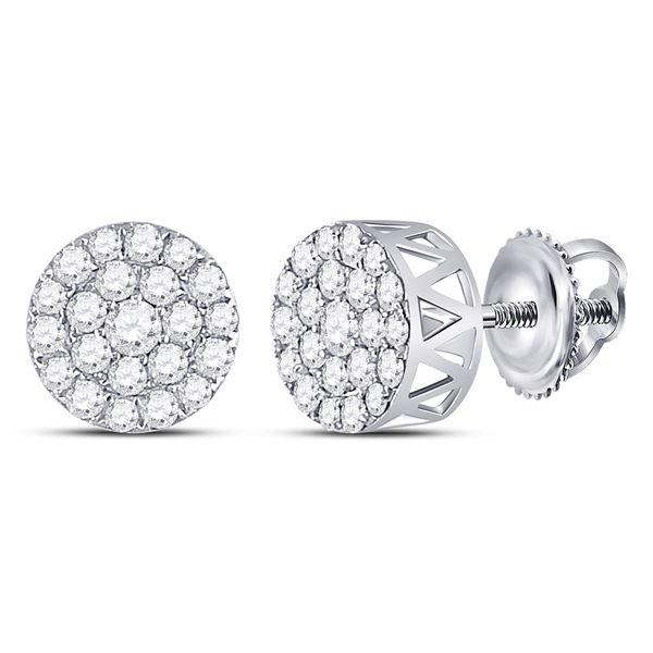 Diamond Circle Frame Cluster Earrings 1 Cttw 14kt White Gold
