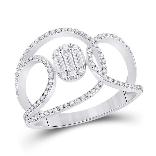 Baguette Diamond Open Loop Cluster Fashion Ring 1/2 Cttw 14kt White Gold