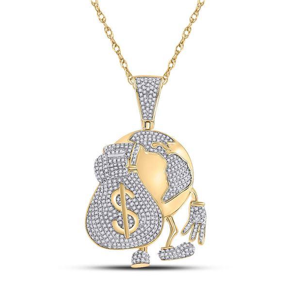 Mens Diamond Globe Money Earth Charm Pendant 1-1/2 Cttw 10kt Yellow Gold