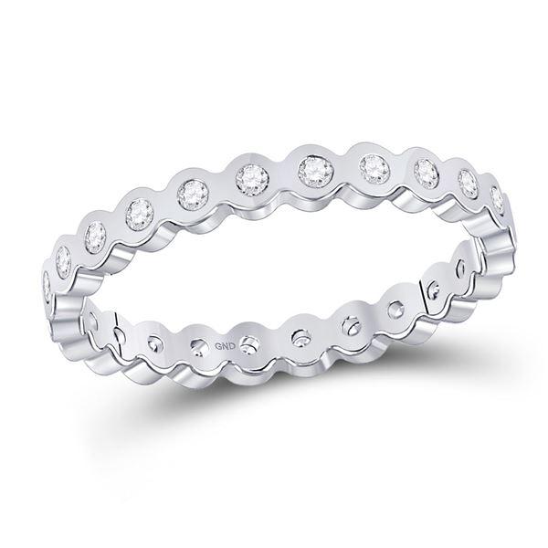 Diamond Machine-Set Band Ring 1/5 Cttw 14kt White Gold
