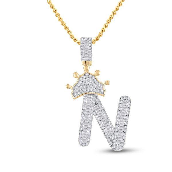 Mens Baguette Diamond Crown N Letter Charm Pendant 3/4 Cttw 10kt Yellow Gold