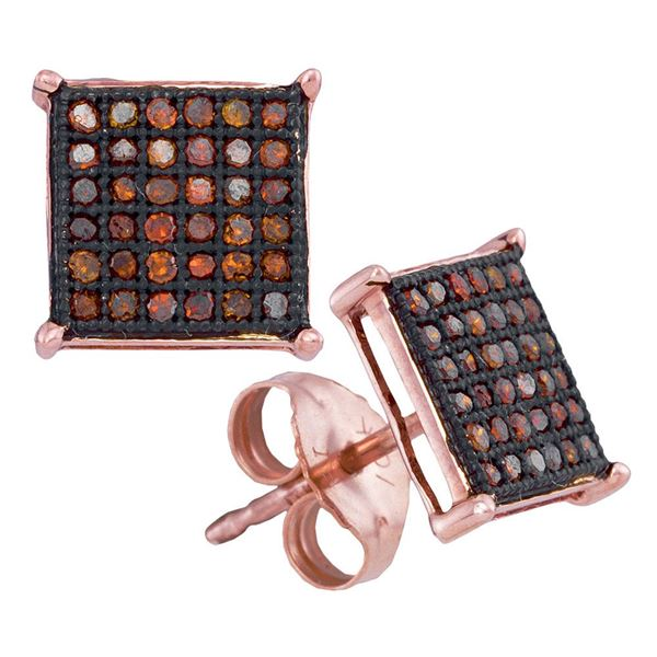 Red Color Enhanced Diamond Square Cluster Earrings 1/4 Cttw 10kt Rose Gold