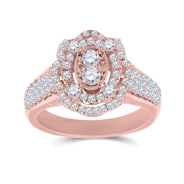 Diamond Oval Ring 1 Cttw 14kt Rose Gold