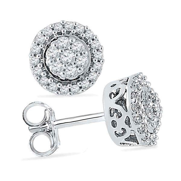 Diamond Flower Cluster Earrings 1/4 Cttw 10kt White Gold