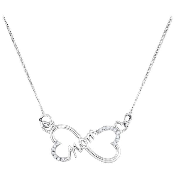Diamond Mom Heart Pendant Necklace 1/12 Cttw Sterling Silver