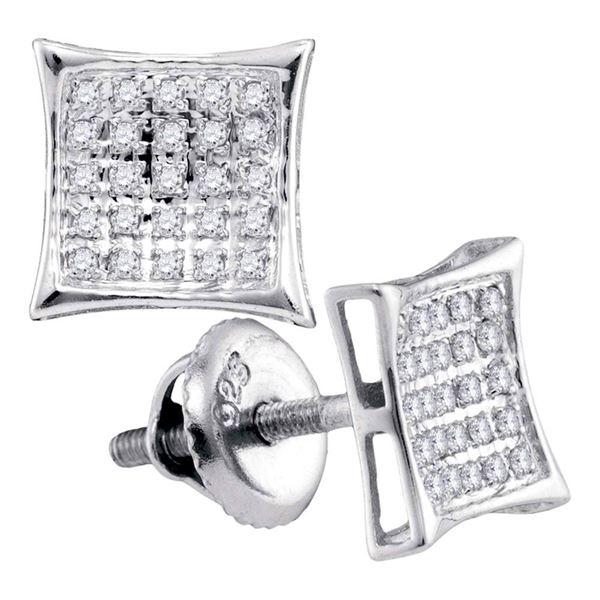 Diamond Kite Square Earrings 1/6 Cttw Sterling Silver