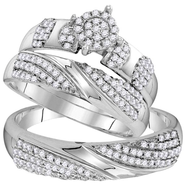 His Hers Diamond Cluster Matching Wedding Set 3/4 Cttw 10kt White Gold