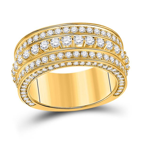 Mens Diamond Statement Band Ring 3 Cttw 10kt Yellow Gold