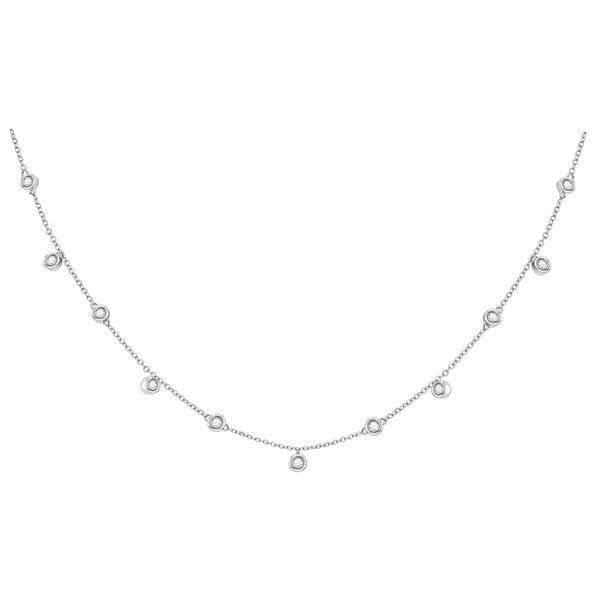 Diamond Simplistic Fashion Necklace 1/3 Cttw 10kt White Gold