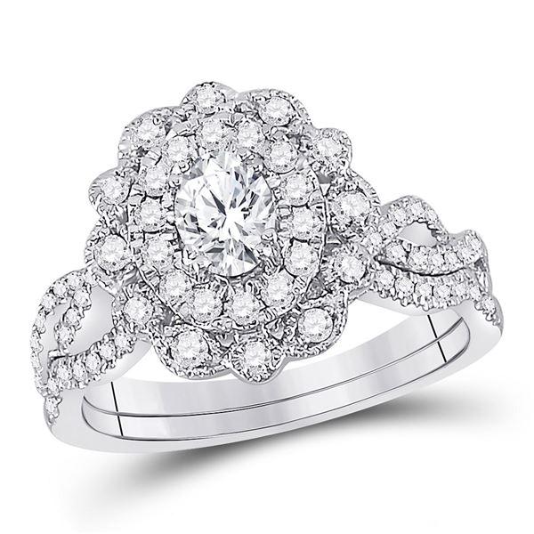 Oval Diamond Twist Bridal Wedding Ring Band Set 1 Cttw 14kt White Gold