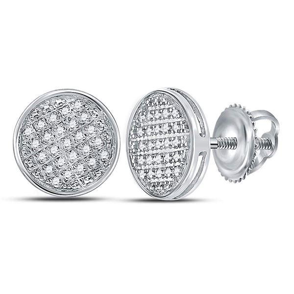 Mens Diamond Circle Disk Cluster Earrings 1/8 Cttw 10kt White Gold