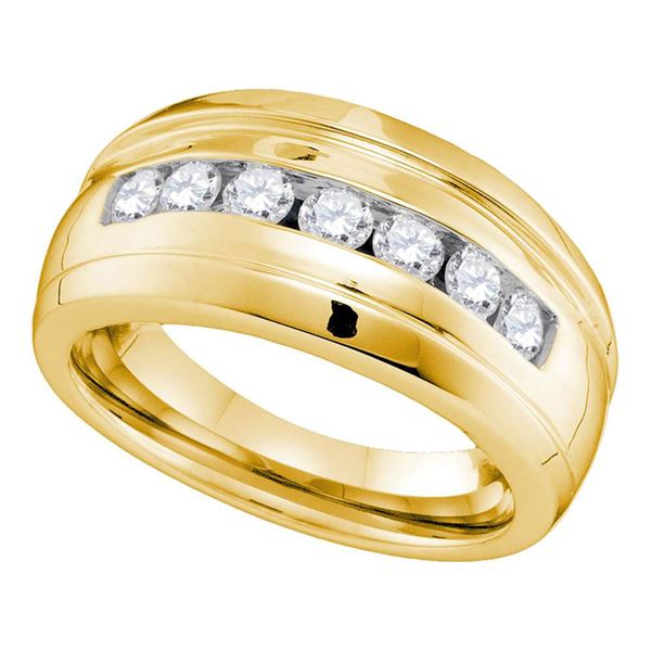 Mens Channel-set Diamond Ridged Wedding Band Ring 3/4 Cttw 10kt Yellow Gold