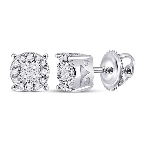 Princess Diamond Fashion Cluster Earrings 1/6 Cttw 14kt White Gold
