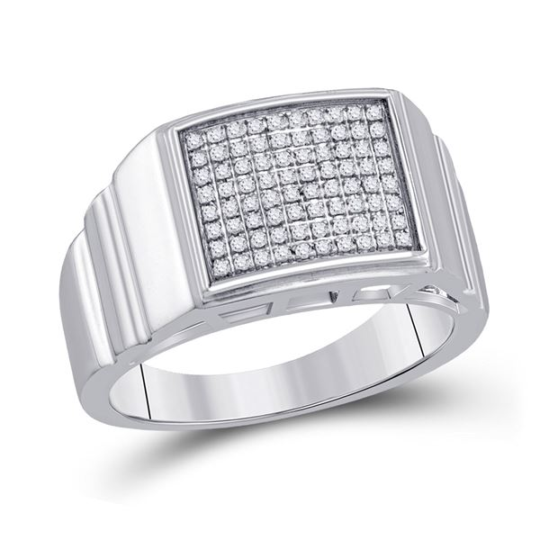 Sterling Silver Mens Diamond Square Ring 1/4 Cttw Sterling Silver
