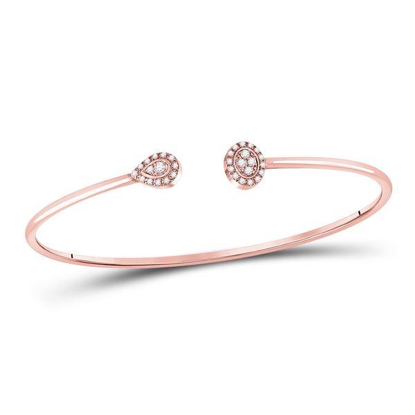 Diamond Cluster Bangle Bracelet 1/5 Cttw 10kt Rose Gold
