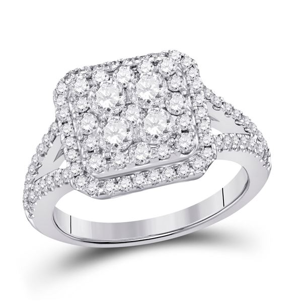 Diamond Right Hand Cluster Ring 1-1/2 Cttw 14kt White Gold