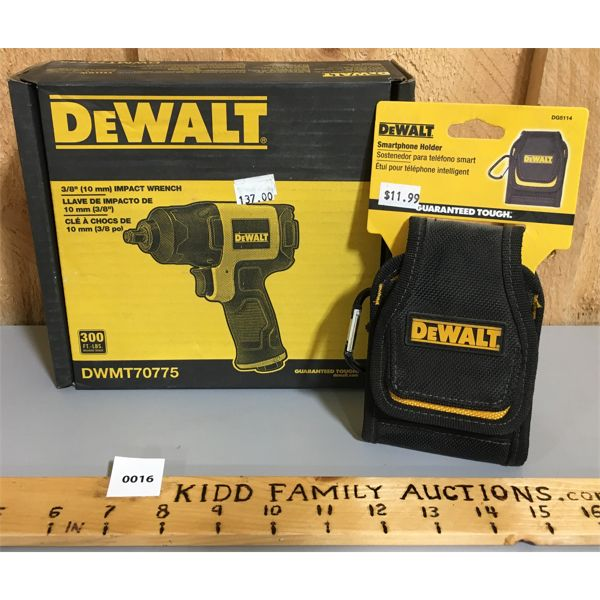 LOT OF 2 - DEWALT 3/8 INCH IMPACT WRENCH & SMART PHONE HOLDER - NEW