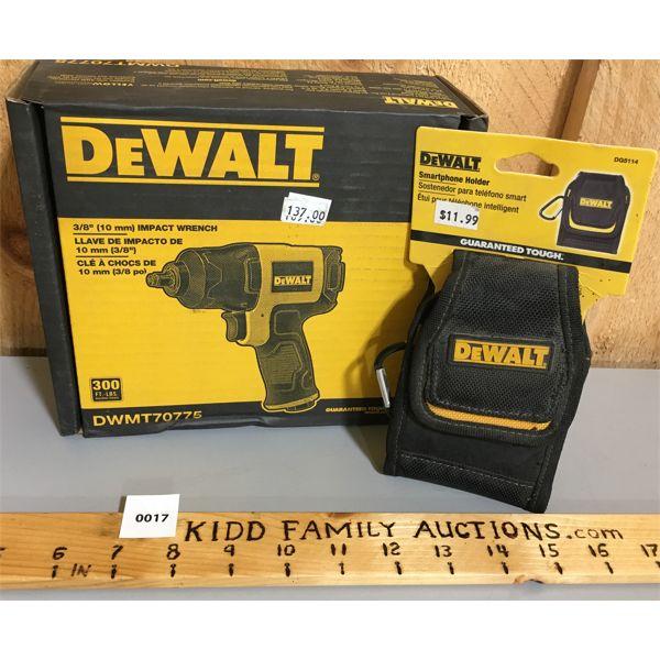 DEWALT 3/8 INCH IMPACT WRENCH W/ CELL PHONE HOLDER