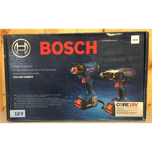 BOSCH 1/2 INCH HAMMER DRILL & 1/4 IMP DRIVER - NEW
