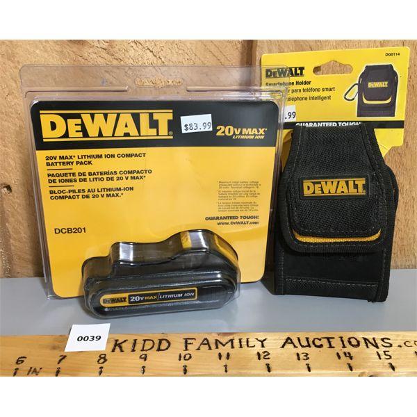 DEWALT 20 MAX LITHIUM BATTERY & PHONE HOLDER - NEW