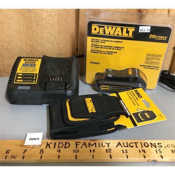 DEWALT 20V MAX LITHIUM BATTERY W/ CHARGER & PHONE HOLDER - NEW