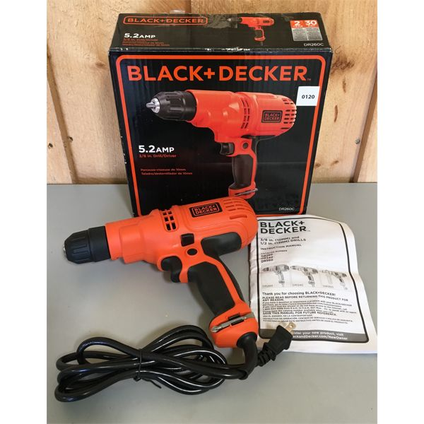 BLACK & DECKER 3/8 INCH CORDED DRILL - AS NEW