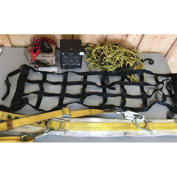 JOB LOT - NOCO 6 & 12V CHARGER  (NEW), MICRO FURNACE, 2 X CARGO NET & SAFETY HARNESS