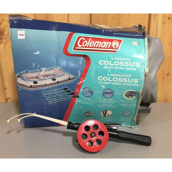 LOT OF 2 - COLEMAN 4 PERSON INFLATABLE BOAT & PLASTIC ICE FISHING ROD