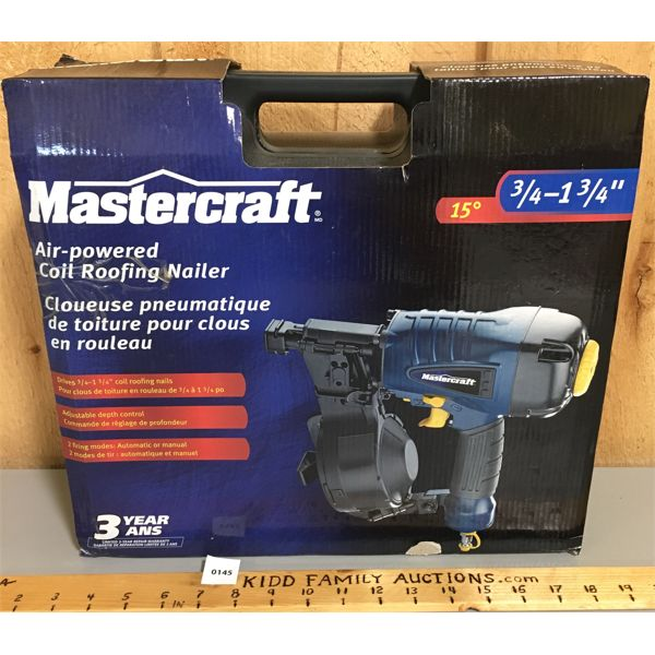 MASTERCRAFT AIR POWERED COIL ROOFING NAILER - NEW